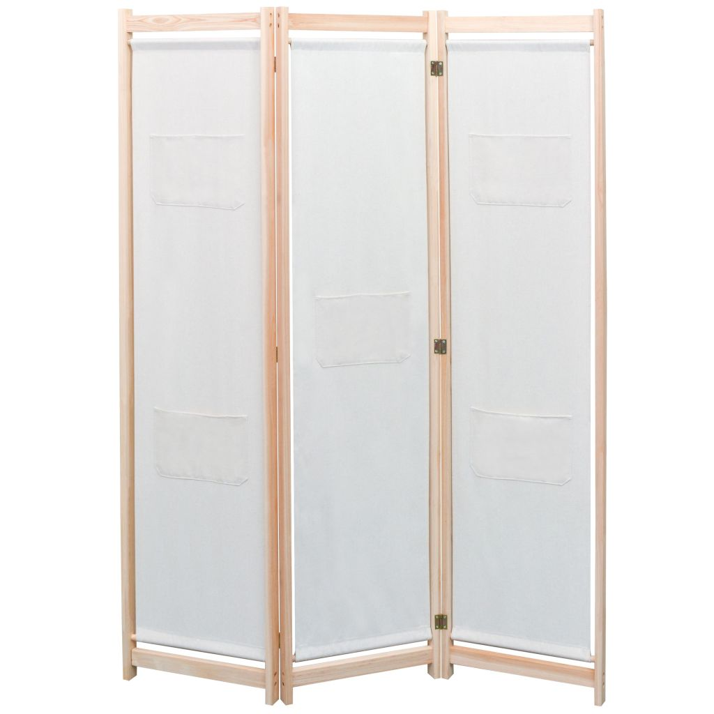 3-Panel Room Divider Solid Pine Wood 120x170 cm