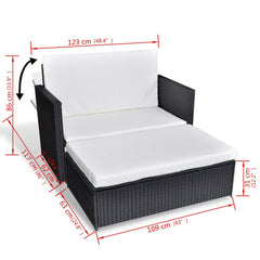 Garden Sofa Set Five Pieces Poly Rattan Black