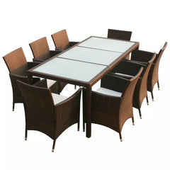 Outdoor Dining Set 17 Pieces Poly Rattan Brown