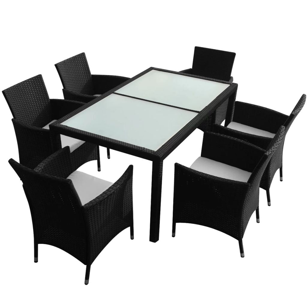 Outdoor Dining Set 13 Pieces Poly Rattan Black