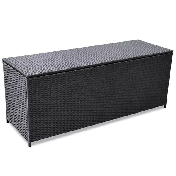 Outdoor Storage Box Poly Rattan Black 150x50x60 cm