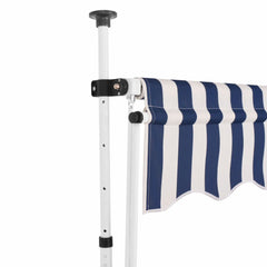 Manual Retractable Awning 250 cm Blue and White Stripes