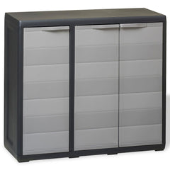 Garden Storage Cabinet with 2 Shelves Black and Grey