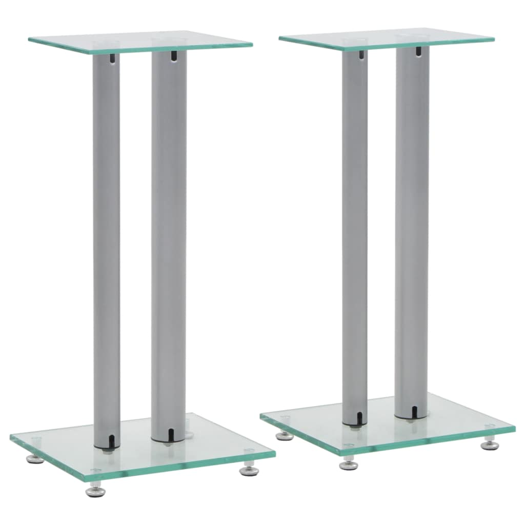 Speaker Stands 2 pcs Tempered Glass 2 Pillars Design Silver