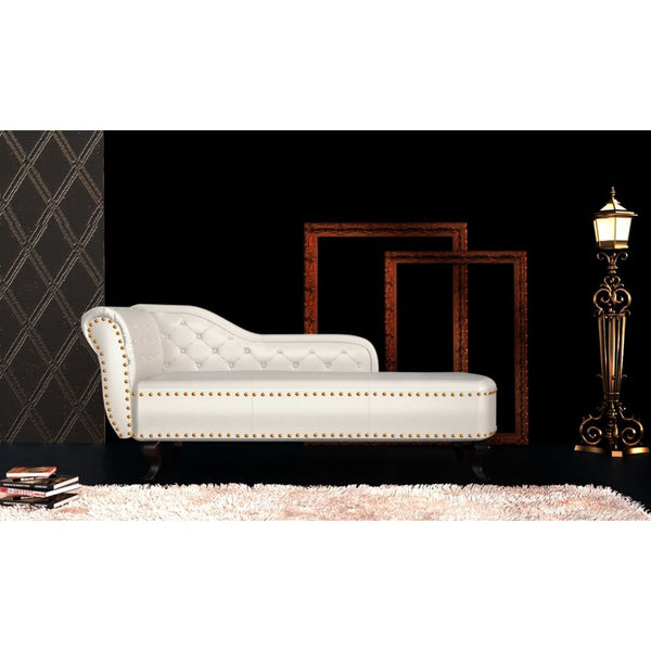 Chaise Lounge Artificial Leather Cream White