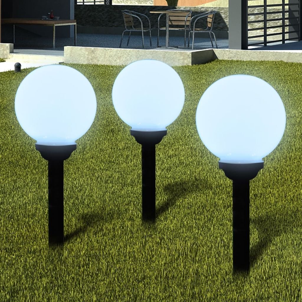 Garden Path Solar Ball Light LED 20cm 3pcs with Ground Spike