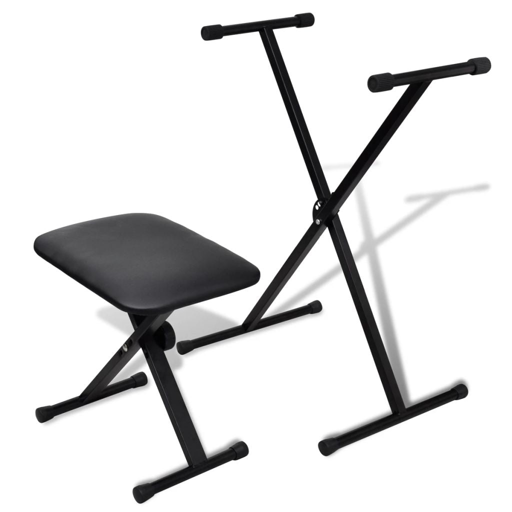 Adjustable Keyboard Stand and Stool Set