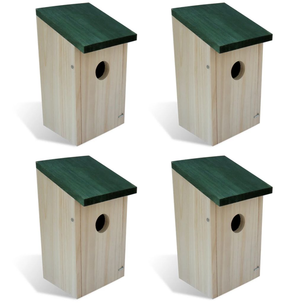 Bird House Nesting Box Wood 4 pcs
