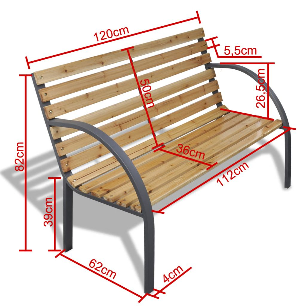 Iron Frame Garden Bench with Wood Slats