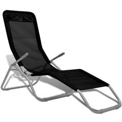Sunlounger 2 pcs with Swing Frame Textilene Black