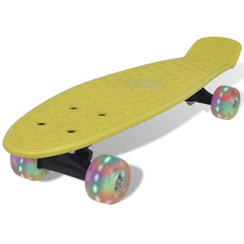 Yellow Retro Skateboard with LED Wheels