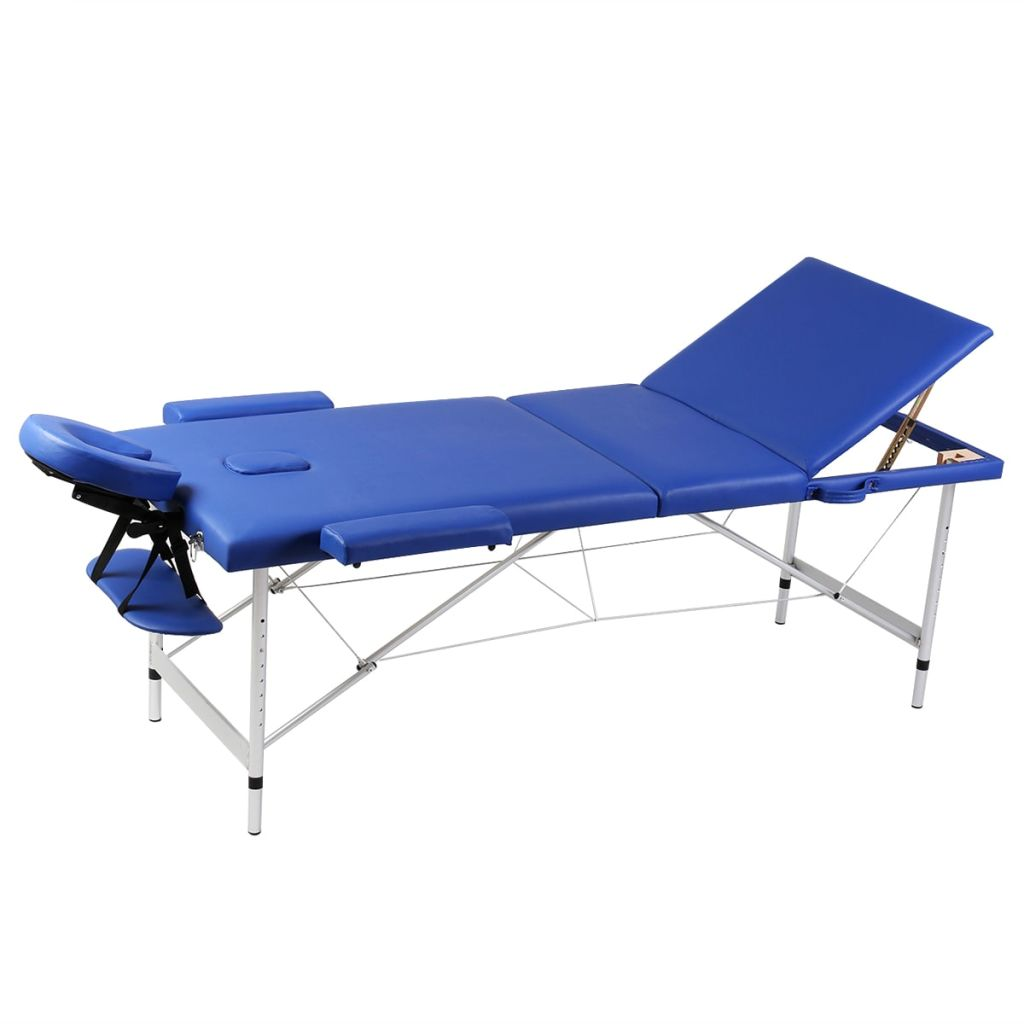Blue Foldable Massage Table 3 Zones with Aluminium Frame