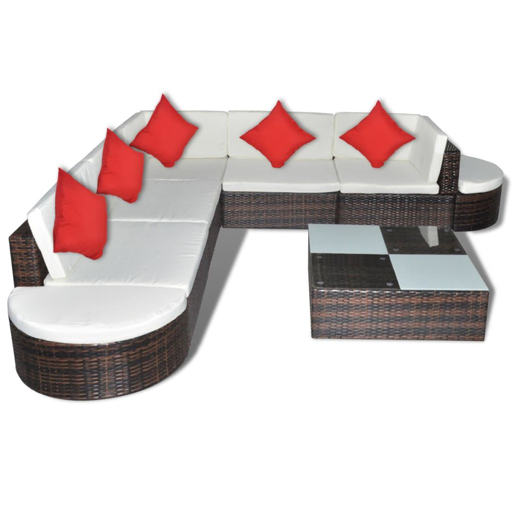 Outdoor Lounge Set 27 Pieces Brown Poly Rattan
