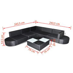 Outdoor Lounge Set 27 Pieces Black Poly Rattan