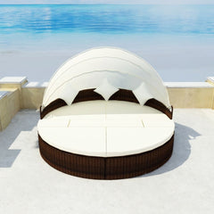 Loungebed 15 Pieces with Canopy 2-in-1 Brown Poly Rattan