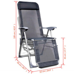 Foldable Adjustable Camping Chairs with Footrest Aluminium Set of 2