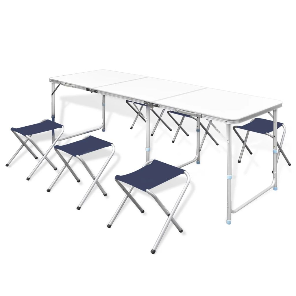 Foldable Camping Table Set with 6 Stools Height Adjustable 180x60cm
