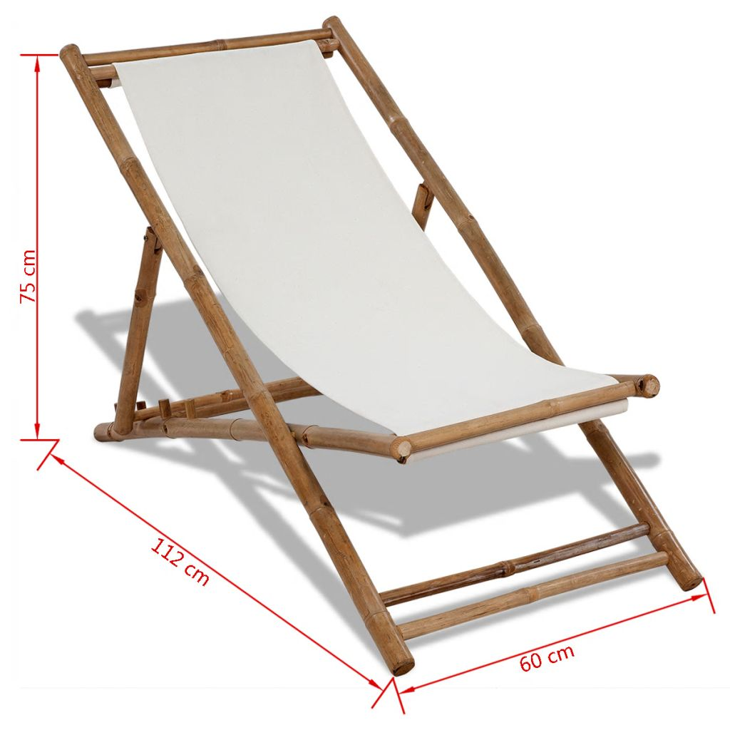 Deck Chair Bamboo and Canvas