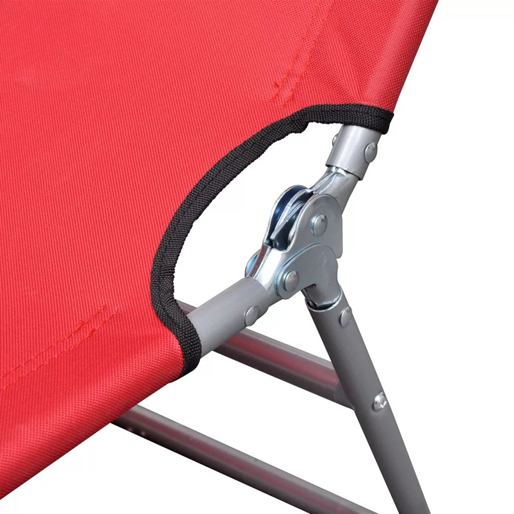 Folding Sunlounger with Head Cushion Adjustable Backrest Red