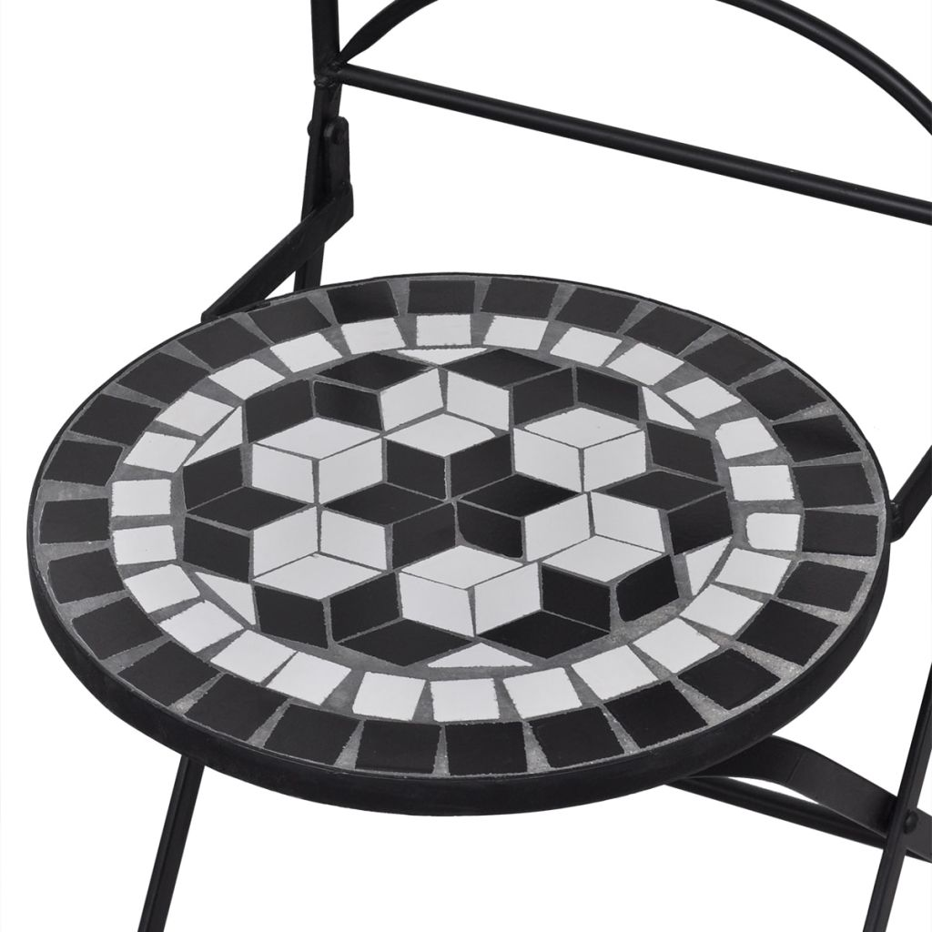 Mosaic Bistro Chair Black / White Set of 2