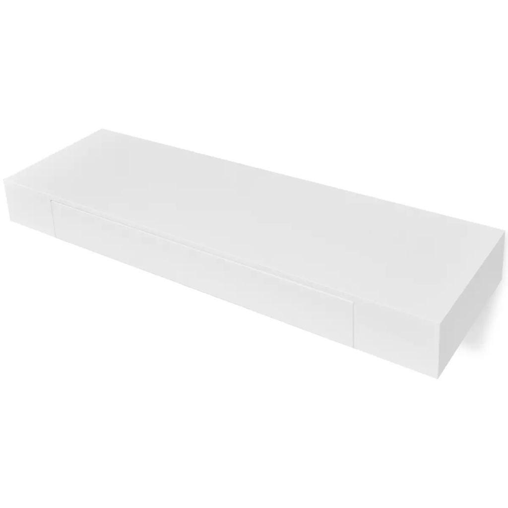 White MDF Floating Wall Display Shelf 1 Drawer Book/DVD Storage