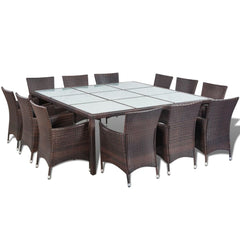 Outdoor Dining Set 25 Pieces Poly Rattan Brown
