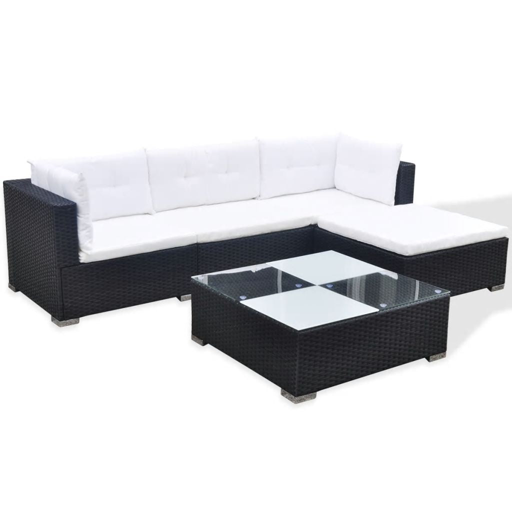 Garden Sofa Set 14 Pieces Poly Rattan Black