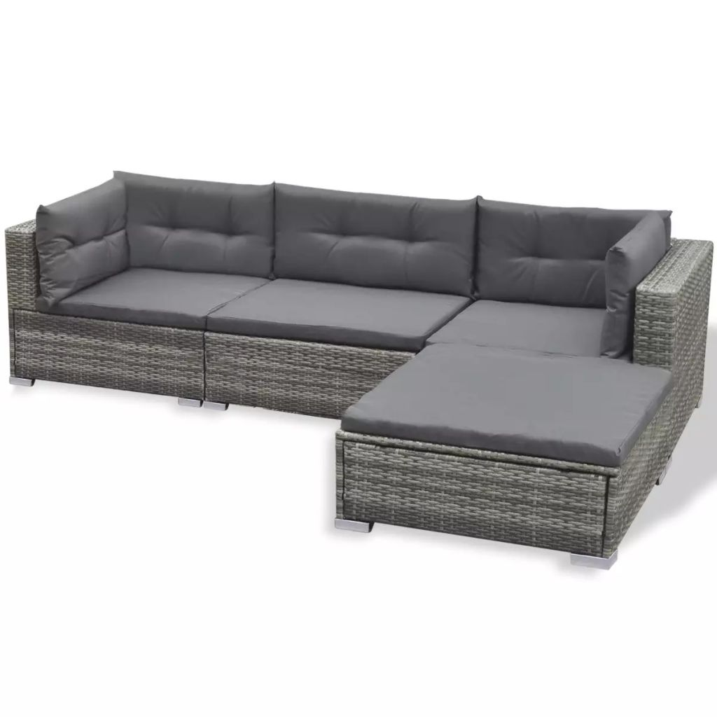 Outdoor Lounge Set 17 Pieces Poly Rattan Grey