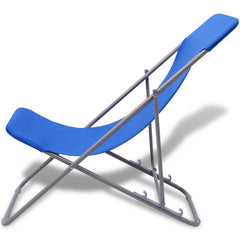 Folding Beach Chair 2 pcs Blue