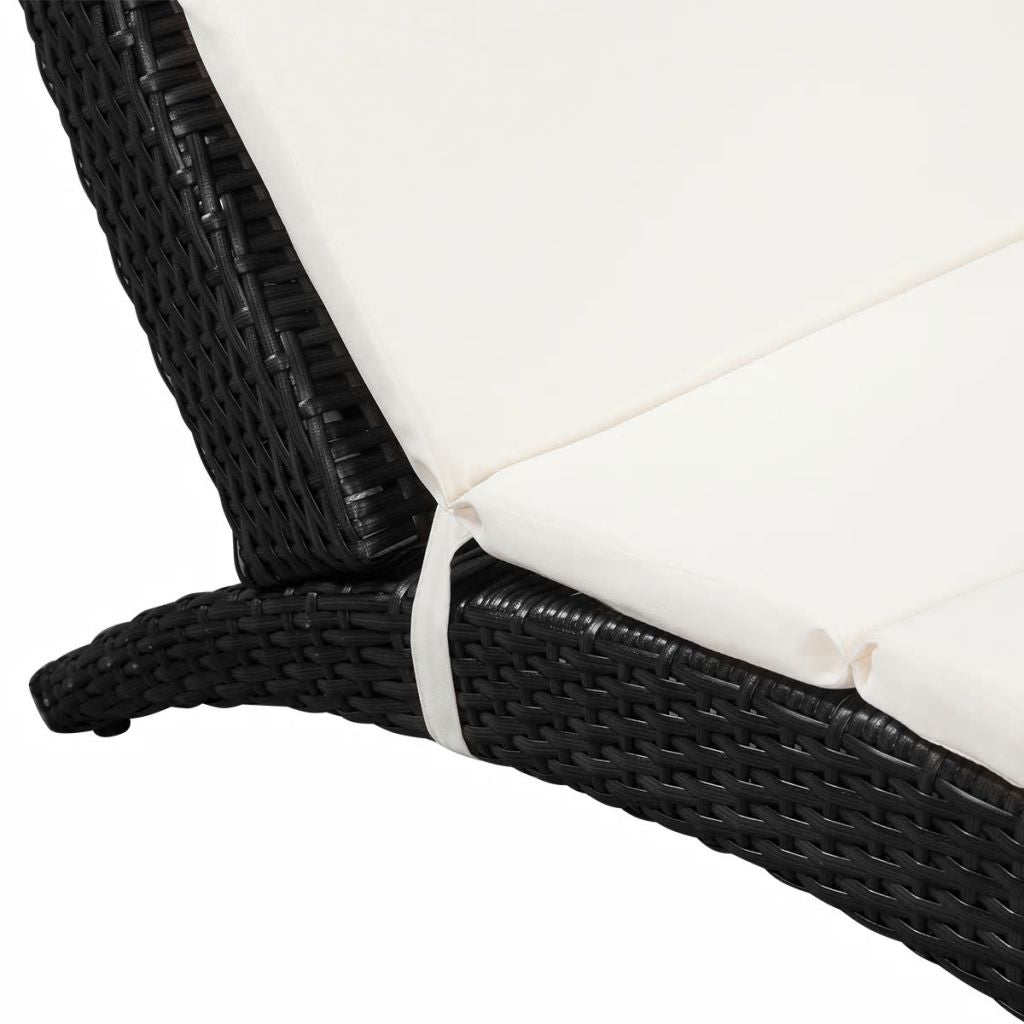 Foldable Sunlounger with Cushion Poly Rattan Black