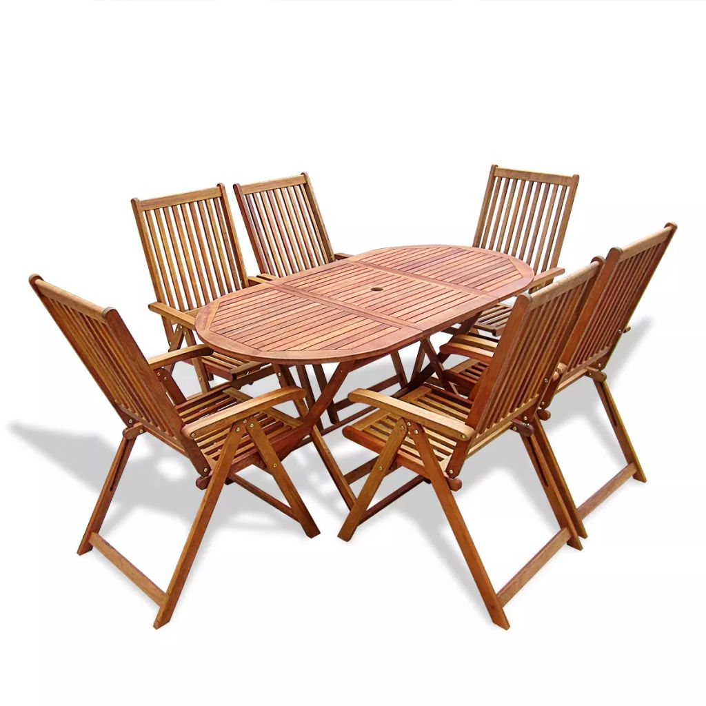 Outdoor Dining Set 7 Pieces Wood with Folding Table