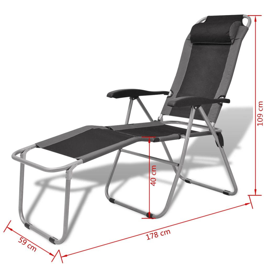 Camping Reclining Chair 2 pcs Grey and Black