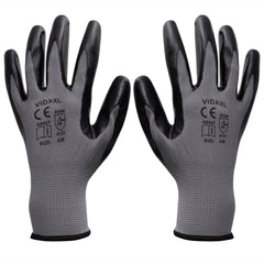 Work Gloves Nitrile 24 Pairs Grey and Black Size 9/L