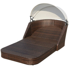 Sunlounger with Canopy Poly Rattan Brown