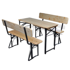 Beer Table with 2 Benches 118 cm Fir Wood Foldable