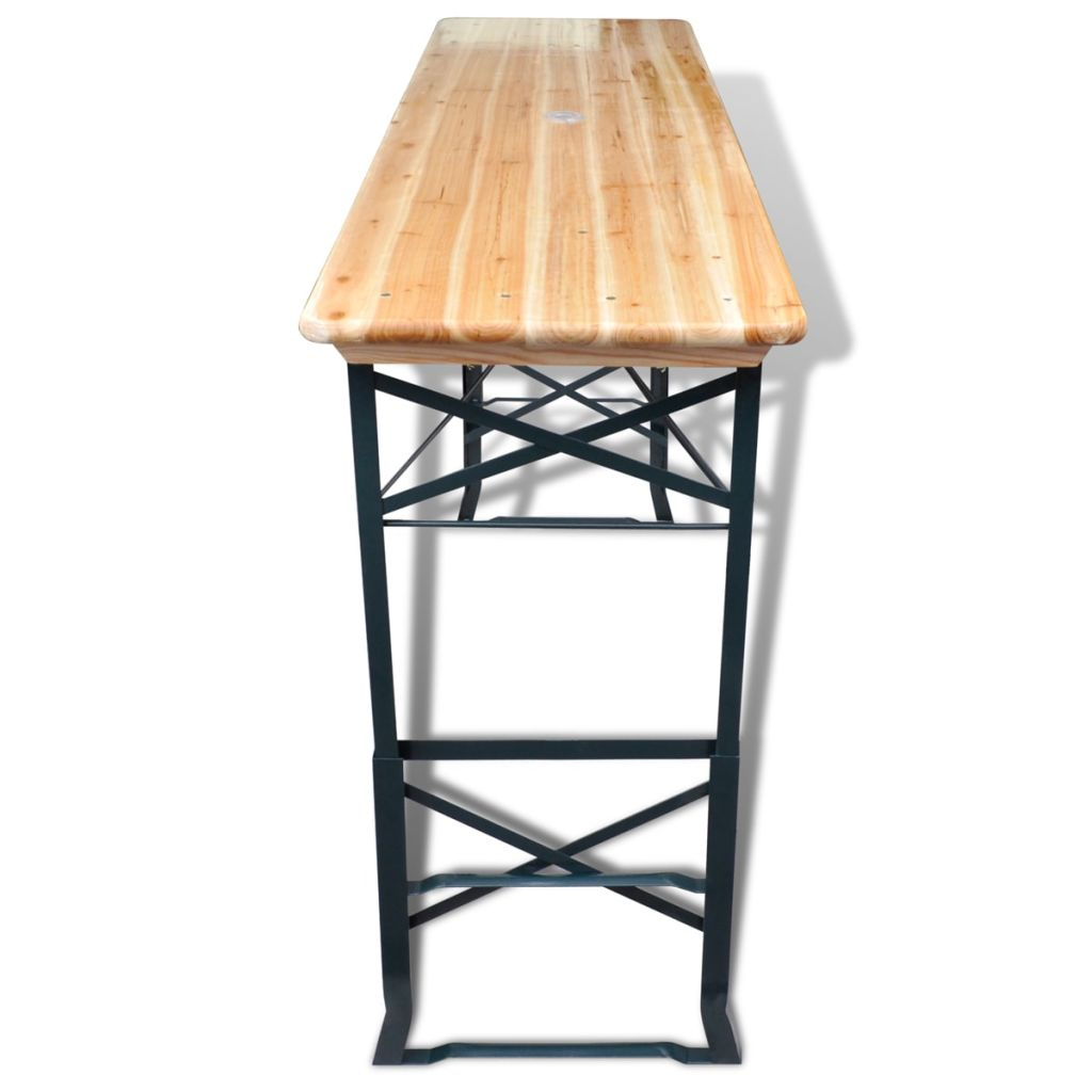 Foldable Beer Table 179x50x75/105 cm Pinewood
