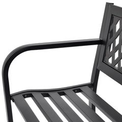 Garden Bench Black Steel