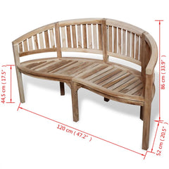 Teak Banana-Shaped Bench with 2 Seats 120 cm