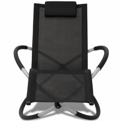 Outdoor Geometrical Sunlounger Steel Black and Grey