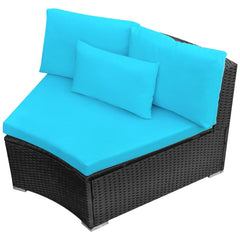 Garden Sofa Set with Sunloungers Poly Rattan Blue