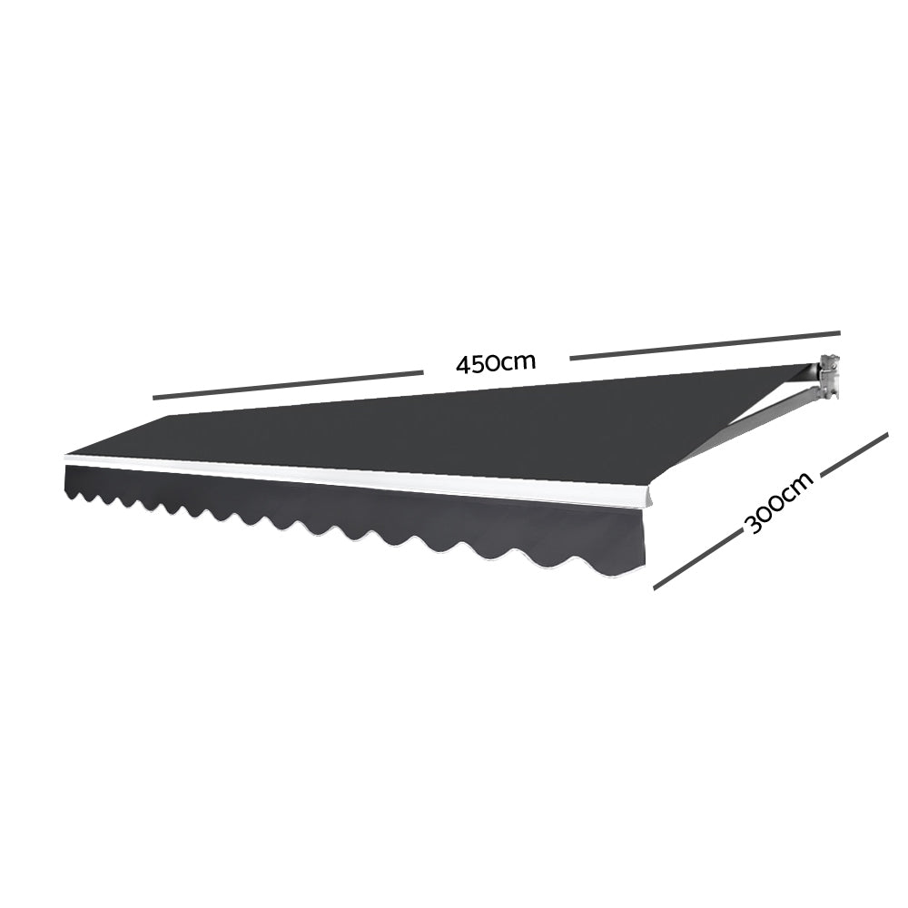 Instahut 4.5M x 3M Outdoor Folding Arm Awning - Grey