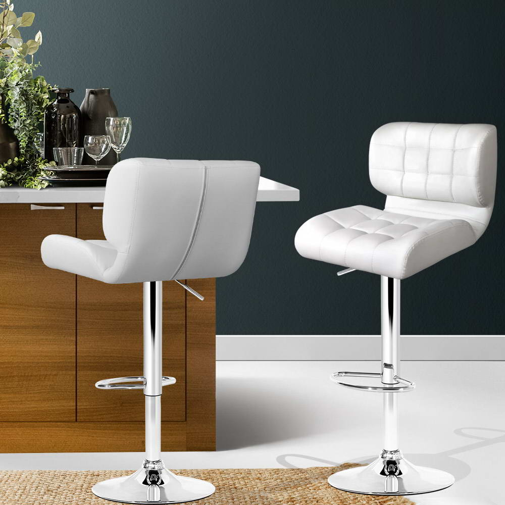 Artiss Set of 2 PU Leather Gas Lift Bar Stools - White and Chrome