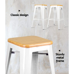 Artiss Set of 2 Metal and Bamboo Bar Stools - White
