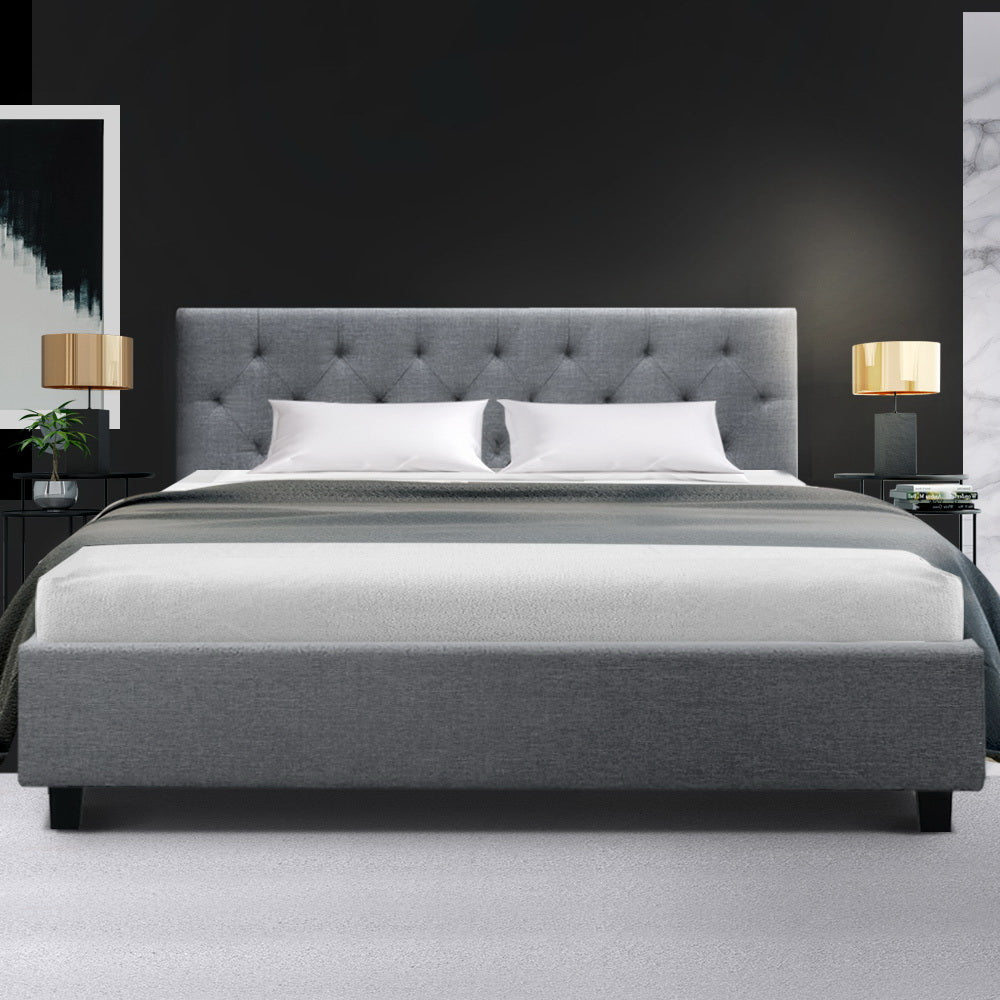 Artiss Vanke Bed Frame Fabric- Grey Queen