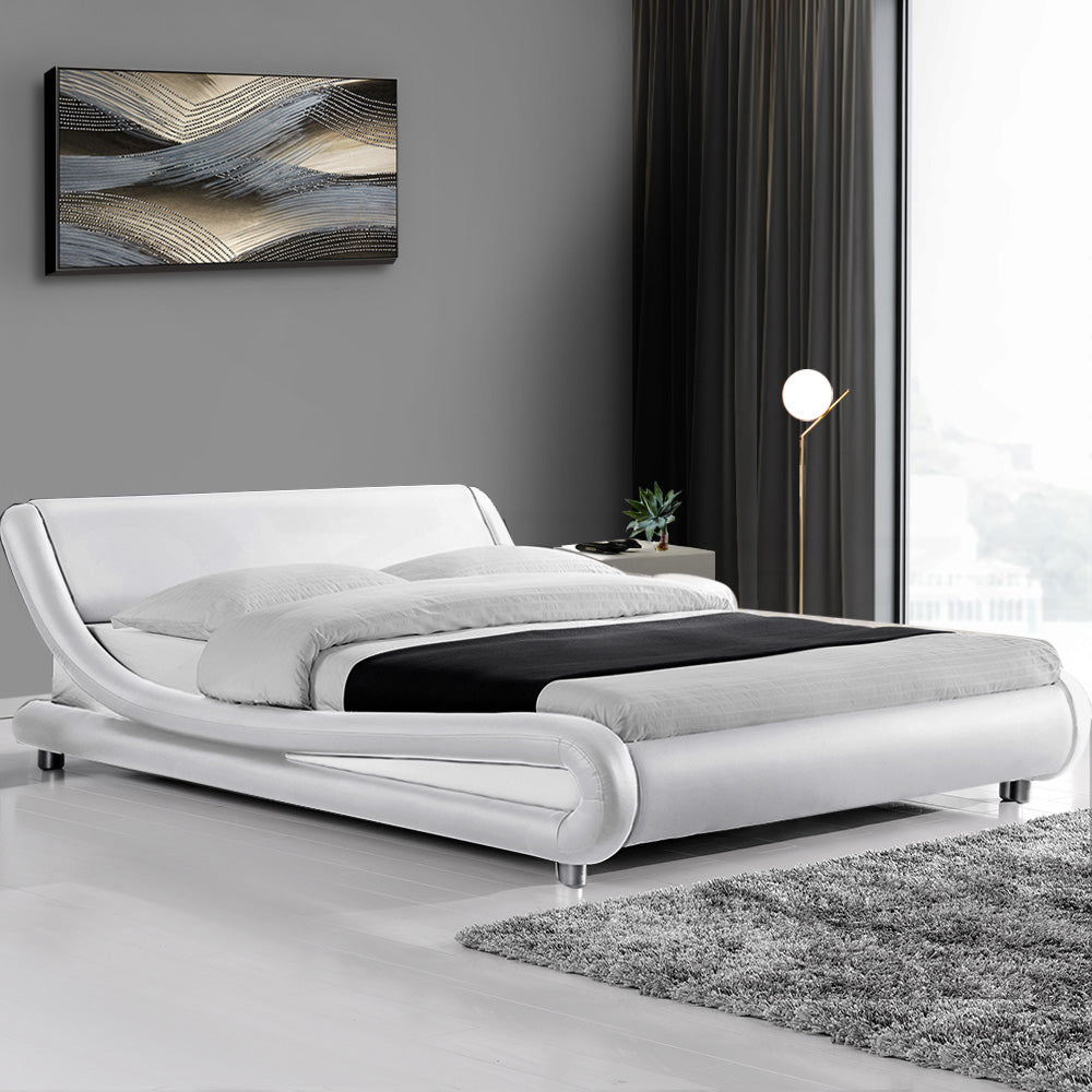 Artiss Flio Bed Frame PU Leather - White Queen