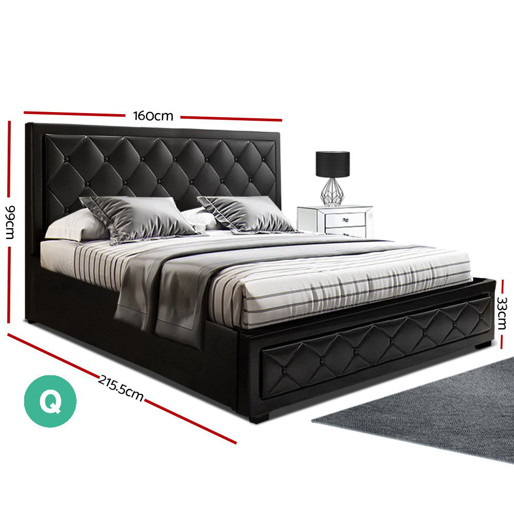 Artiss Tiyo Bed Frame PU Leather Gas Lift Storage - Black Queen