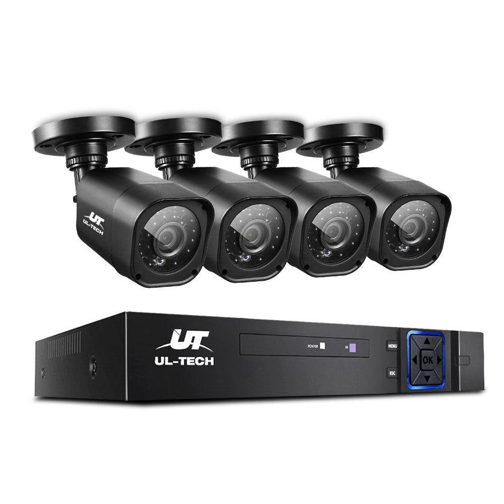 UL-TECH 8CH 5 IN 1 DVR CCTV Security System Video Recorder /w 4 Cameras 1080P HDMI Black