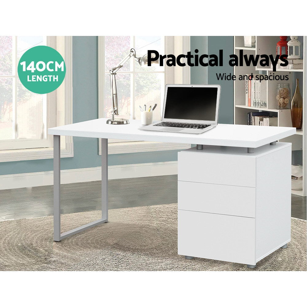 Artiss Metal Desk with 3 Drawers - White