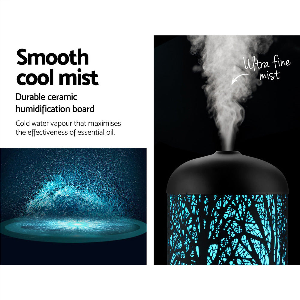 DEVANTI Aroma Diffuser Aromatherapy LED Night Light Iron Air Humidifier Black Forrest Pattern 100ml