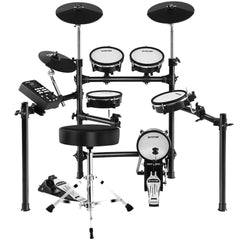 8 Piece Electric Electronic Drum Kit Mesh Drums Set Pad and Stool For Kids Adults